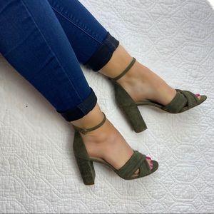 "NEW Ann Taylor ""Gillian"" olive green block heels"